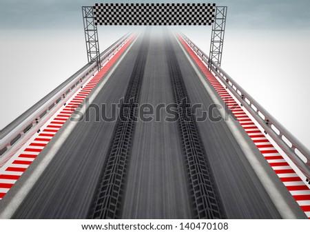 tire drift on race circuit finish line illustration - stock photo