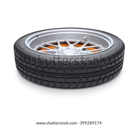 Tire isolated on white background with a soft shadow. Supine view - stock photo