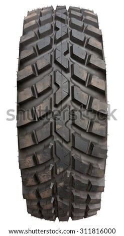 Tire isolated on white. Clipping path included. - stock photo