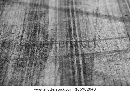 Tire marks on road track for background - stock photo