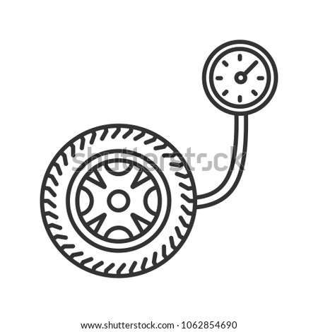 Tire Pressure Gauge Linear Icon Thin Stock Illustration 1062854690