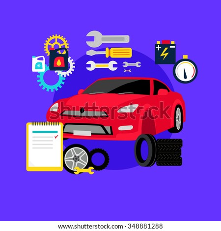 Tire service automobile flat concept. Auto car, change and balancing, repair vehicle, wheel and tool, engine  transportation, maintenance transport illustration. Raster version - stock photo