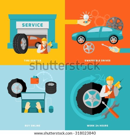 Tire service design concept with swappable drivers online buying 24 hours work flat icons isolated  illustration - stock photo