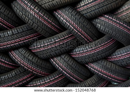 Tire stack background - stock photo