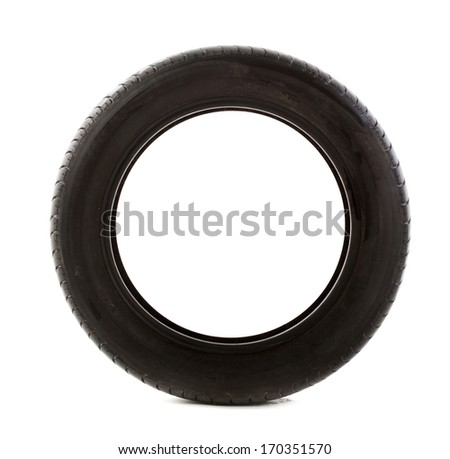 Tire that is nearing the end of it's useful life on a white background.