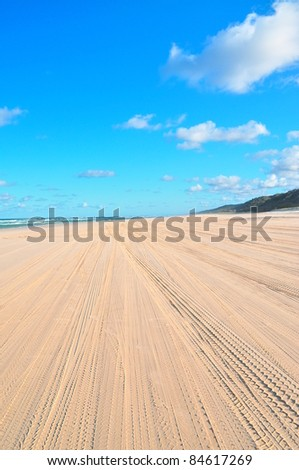 Tire Tracks on Fraser Island - stock photo