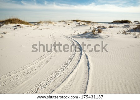 Tire tracks wind through pristine white beach sand dunes to the ocean.