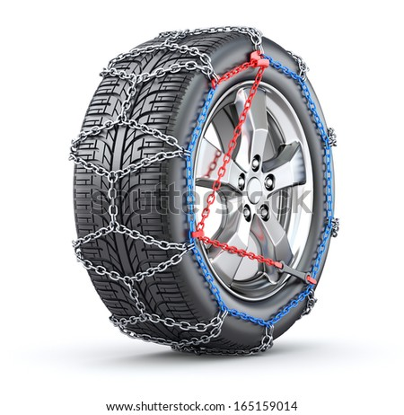 Tire with snow chain - stock photo