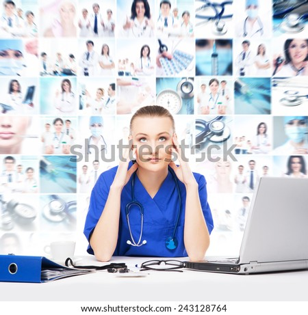 Tired and depressed doctor in medical office. Hard working and stress concept. - stock photo