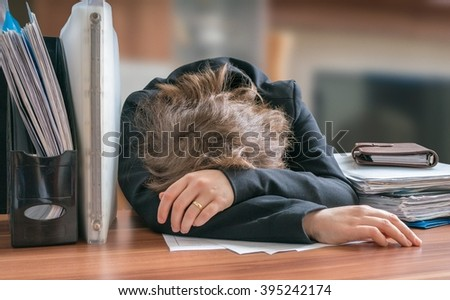Woman Asleep Her Desk Stock Photos Images amp Pictures