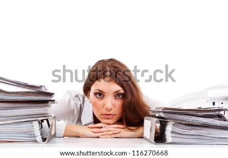 Tired and exhousted business woman - stock photo