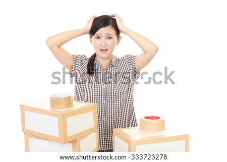 Tired and stressed Asian woman  - stock photo