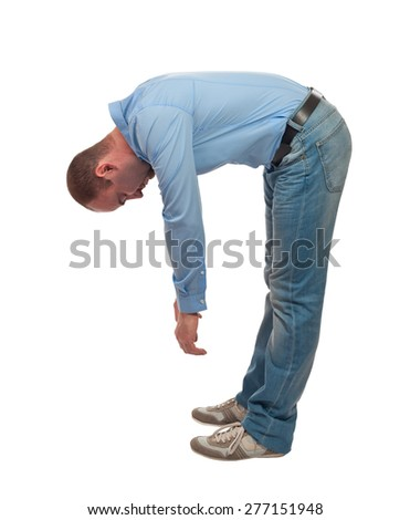tired bend man isolated on white background - stock photo