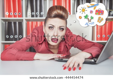 Tired bored businesswoman dreaming about holiday in office. Overwork concept - stock photo