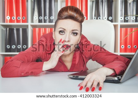 Tired bored businesswoman working in office. Overwork concept - stock photo