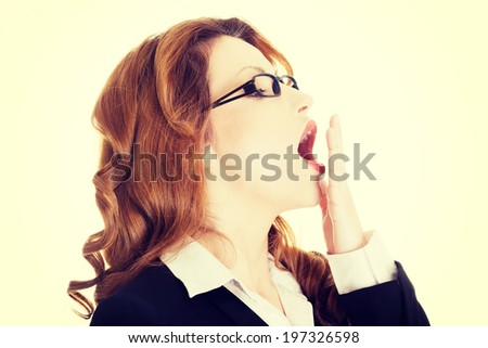 Tired business woman in a suit. - stock photo
