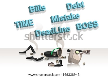 tired businessman with body split apart on white background
