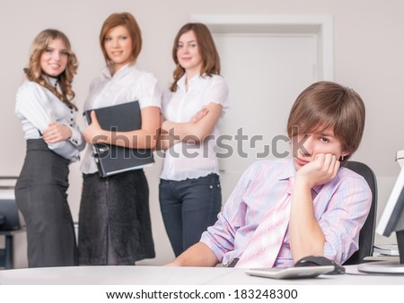 Tired chief in office - stock photo