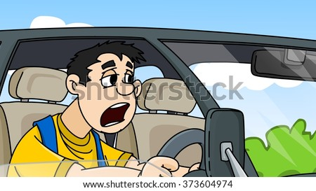 Tired driver yawning and driving car. Cartoon illustration. - stock photo