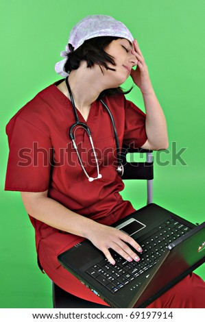 Tired lady doctor - stock photo