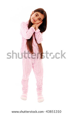 Tired little girl isolated on white