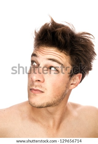 Tired Man looking on the left side (isolated) - stock photo