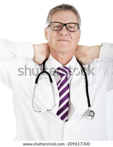 Tired Medical Doctor having Stethoscope on Shoulders Holding his Back Neck with Two Hands, Isolated on White - stock photo