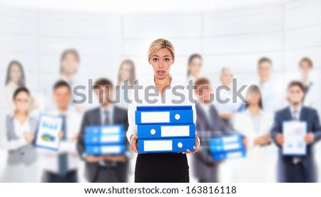 tired overworked business woman hold folder stack, businesswoman workout concept work problem over businesspeople background - stock photo