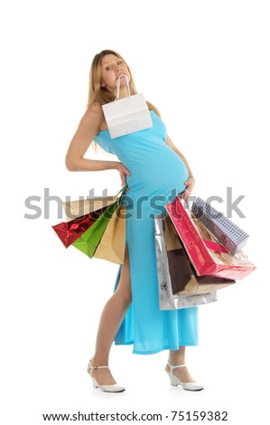 tired pregnant woman with shopping isolated on white - stock photo