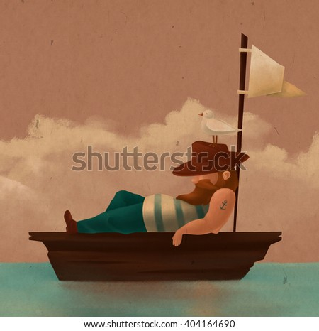 Tired sailor resting on the boat. He was wearing a hat, a seagull sitting on a hat. Noon. Sea. Illustration - stock photo