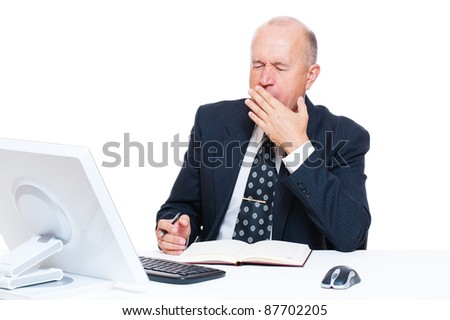 tired senior businessman in office over white background - stock photo