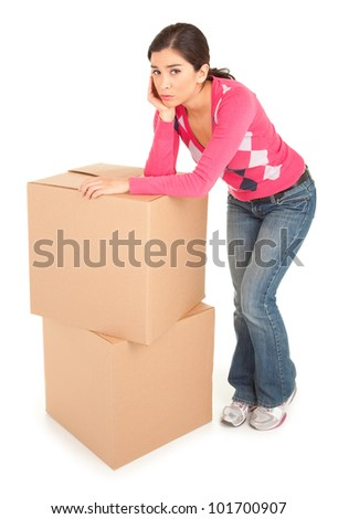 Tired Woman Leaning on a Cardboard Box