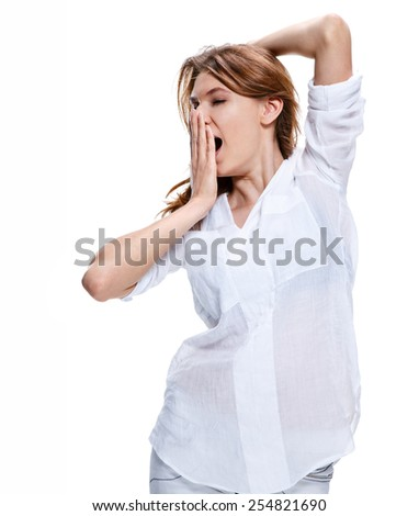 Tired woman yawns and covers her mouth with her hand / photoset of brunette girl wearing white shirt - isolated on white background