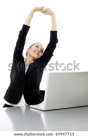 tired young businesswoman with laptop on white background studio