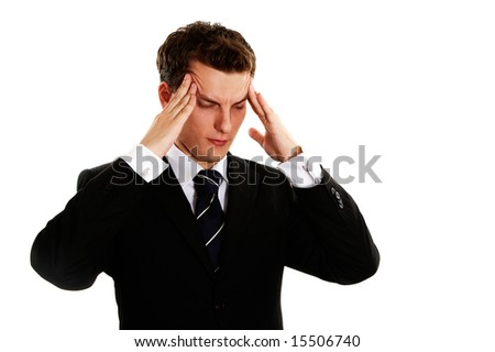 tired young handsome manager - stock photo