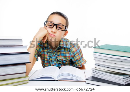 Tired young student girl isolated on white background
