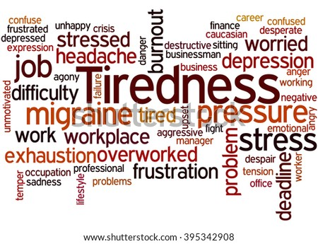 Tiredness, word cloud concept on white background.