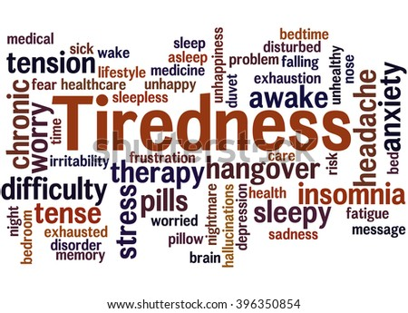 Tiredness word cloud concept on white background.