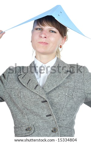 tires businesswoman discontentedly look from under folder on white background - stock photo