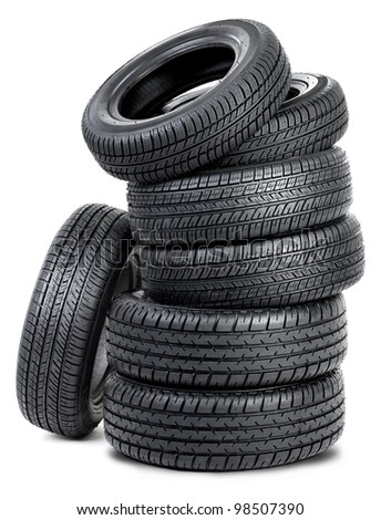 Tires isolated on the white background - stock photo