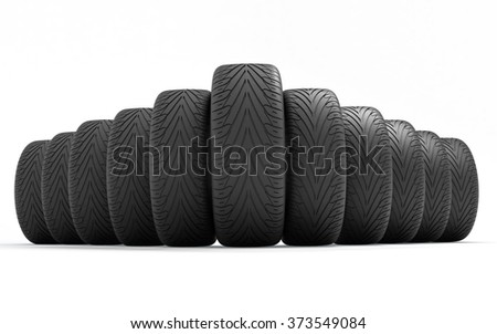 Tires of the car . Concept design. 3D render Illustration on white background. - stock photo