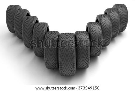 Tires of the car . Concept design. 3D render Illustration on white background. - stock photo