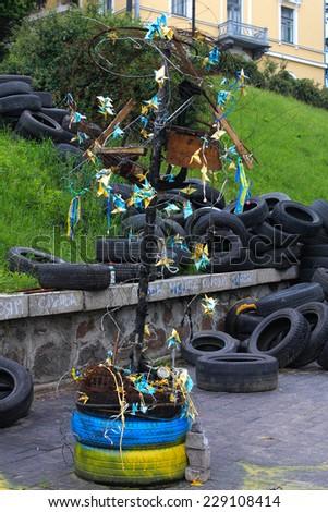 Tires of the Maidan, Ukraine - stock photo