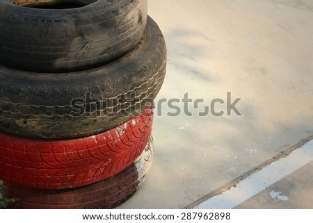 Tires on the road at the speedway. - stock photo