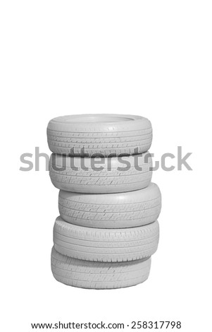 Tires on white background - stock photo