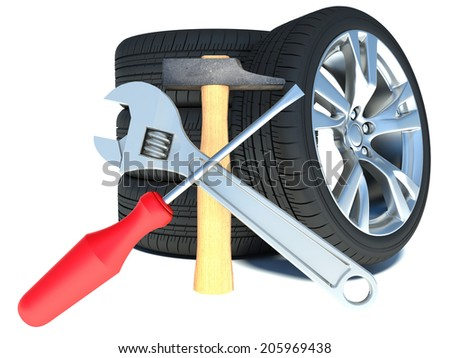 tires on white background. car repair - stock photo