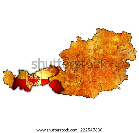 tirol flag on map of austria with administrative divisions - stock photo