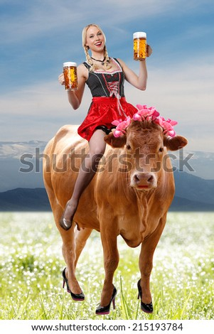 Tirol or oktoberfest woman with a big glass of beer in her hands is sitting on a cow and on the background mountains  - stock photo