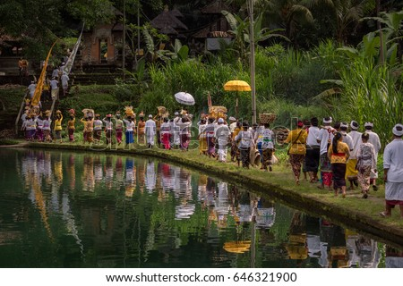 Tirta Taman Mumbul, Sangeh, Bali, Indonesia - May 12, 2017 : Procession to the temple