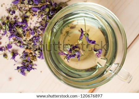 tisane with mallow flowers